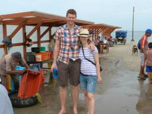 Jen and Mark on the fish quay in Lobitos